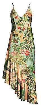 PatBO Women's Paradise Print Ruffle Slip Dress