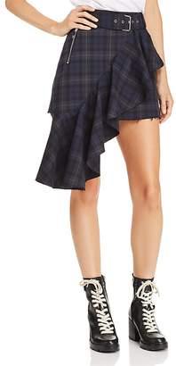Moto Divine Heritage Plaid Ruffle-Trimmed Mini Skirt
