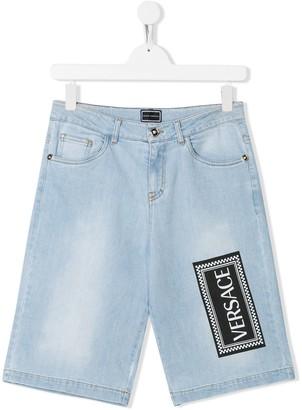 Versace TEEN logo print denim shorts