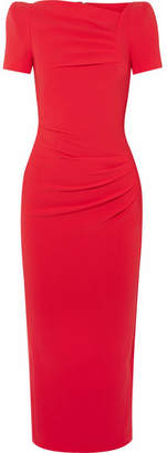 Talbot Runhof Noomi Crepe Midi Dress - Crimson
