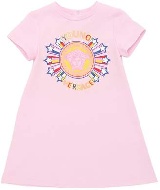 Versace Logo Print Cotton Jersey T-Shirt Dress