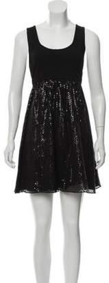 Alice + Olivia Silk-Blend Mini Dress Black Silk-Blend Mini Dress