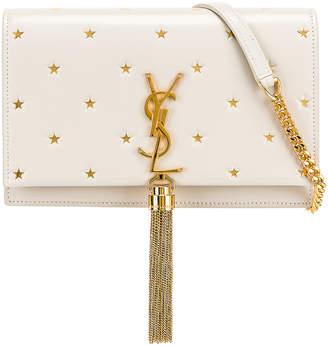 Saint Laurent Kate Monogramme Star Chain Wallet Bag in Blanc Vintage & Gold   FWRD