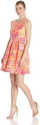 Sandra Darren Women's Sleeveless Printed Fit and Flare Dress