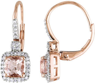 JCPenney FINE JEWELRY Genuine Morganite & Diamond Leverback Earrings