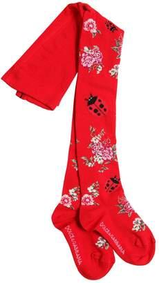 Dolce & Gabbana Floral Cotton Jacquard Knit Tights