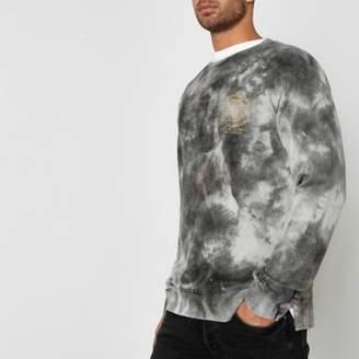 River Island Jack and Jones grey tie dye crew sweatshirt