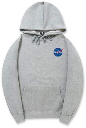 CORIRESHA Fashion NASA Logo Print Hoodie Sweatshirt with Kangaroo Pocket