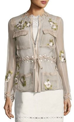 Elie Tahari Katya Floral-Applique Silk Jacket, Light Brown $398 thestylecure.com