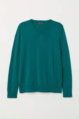 H&M V-neck Merino Wool Sweater - Green