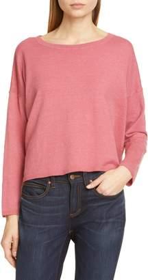 38c75a82 Eileen Fisher Jewel Neck Linen Blend Boxy Top