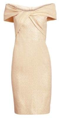 Teri Jon by Rickie Freeman Metallic Off-The-Shoulder Twist Front Dress