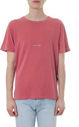 Saint Laurent Destroyed Red Jersey Cotton T-shirt