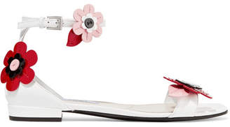 Prada Floral-appliquéd Patent-leather Sandals - White