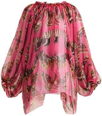 Dolce & Gabbana Butterfly-print silk blouse
