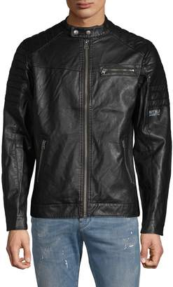 b60438496ec Faux Leather Jacket Men - ShopStyle