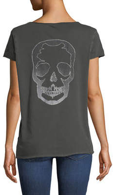Zadig & Voltaire Tunisien Skull-Back Short-Sleeve Henley Top