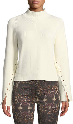 philosophy Lace-Up Mock-Neck Cotton-Blend Sweater
