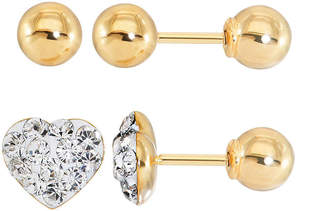 FINE JEWELRY Infinite Gold Kids Crystal Heart 14K Yellow Gold 2-pr. Stud Earring Set