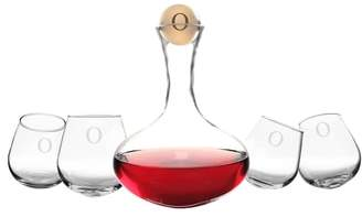CATHY'S CONCEPTS 'Tipsy' Monogram Wine Decanter & Stemless Glasses