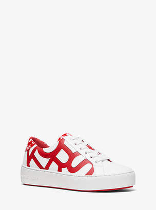 Michael Kors Poppy Graphic Logo Leather Sneaker