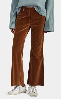 Nili Lotan Women's Derek Velvet Crop Flared Pants - Cognac