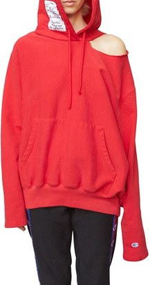 Women's Vetements X Champion Cold Shoulder Hoodie $890 thestylecure.com