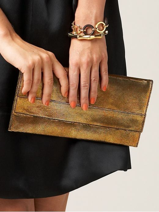 Embossed envelope clutch