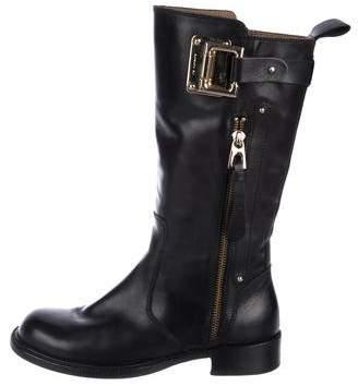 Barbara Bui Leather Round-Toe Mid-Calf Boots