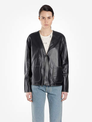 Loewe WOMEN'S BLACK LEATHER JACKET WITH WHITE CONTRASTING STITCHINGS