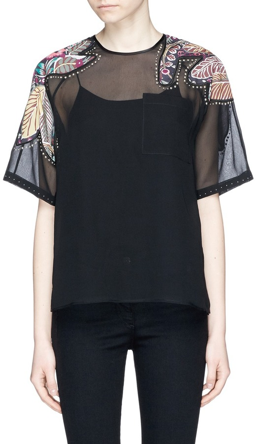 3.1 Phillip Lim 3.1 Phillip Lim Floral patchwork sheer silk T-shirt