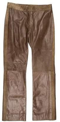 DKNY Leather Straight-Leg Pants
