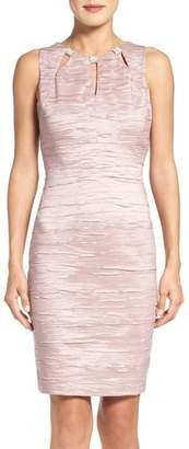 Eliza J Embellished Cutout Taffeta Sheath Dress