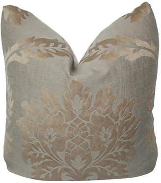 "One Kings Lane Vintage Taupe Damask Pillow 24"" x 24"" - AntiqueLifestyle"