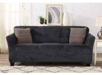 ... Symple Stuff Velvet Plush Form Fit T Cushion Sofa Slipcover