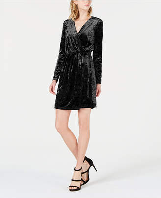 Bar III Crushed Velvet Wrap Dress
