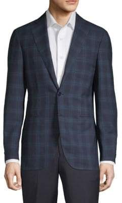 Caruso Windowpane Wool Jacket