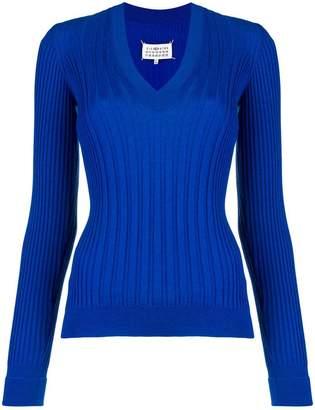 Maison Margiela V-neck rib knit sweater