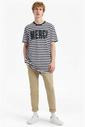 French Connection Merci Striped Slogan T-Shirt