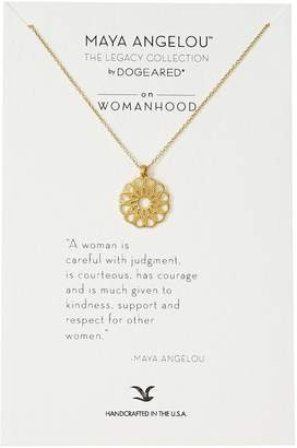 "Dogeared Maya Angelou"" A Woman Is Careful with Judgment Womahood Pendant Necklace"