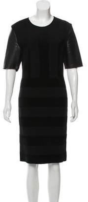 Fendi Short Sleeve Leather-Accented Dress Black Short Sleeve Leather-Accented Dress