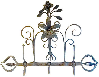 One Kings Lane Vintage Antique Wrought Iron Floral Coat Rack - Vermilion Designs