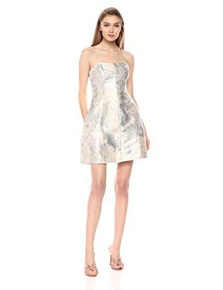 Halston Women's Strapless Metallic Jacquard Structure Dress, Cream/Silver, 0