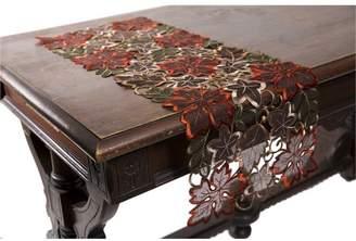 Xia Home Fashions Dainty Leaf Embroidered Cutwork Mini Fall Table Runner