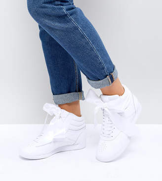 Reebok Classic Freestyle Hi Satin Bow Trainers In White ad7cf9c1d