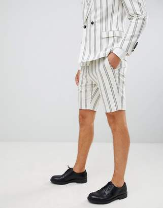 Twisted Tailor skinny shorts in cream stripe linen