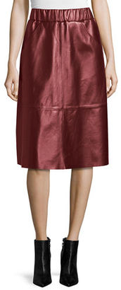 Neiman Marcus Leather A-Line Midi Skirt $425 thestylecure.com