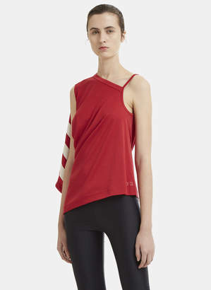 Y-3 Striped Asymmetrical Sleeve Top in Red