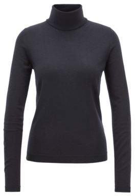 BOSS Hugo Gallery Collection roll-neck sweater in mercerized virgin wool S Open Blue