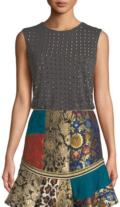 Alice + Olivia Cicely Studded Sleeveless Crewneck Tee